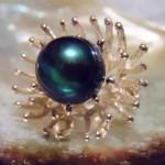 13mm Peacock Green Tahitian Pearl Ring