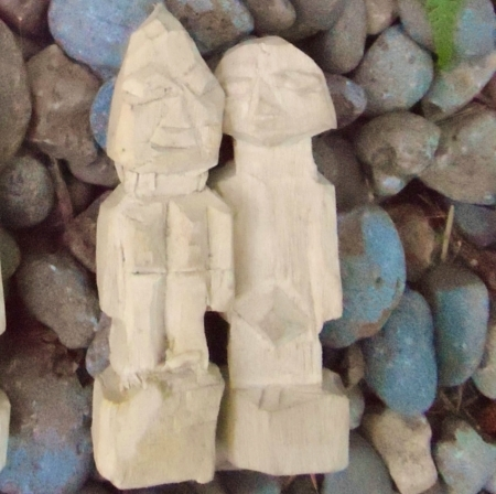 Yoruba Figurines 1 Pair Aworan Ifa Wood Male Female Carvings