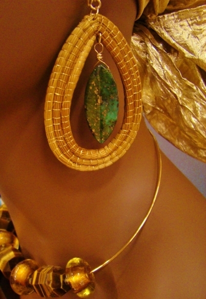 Golden Grass Dangle Earrings