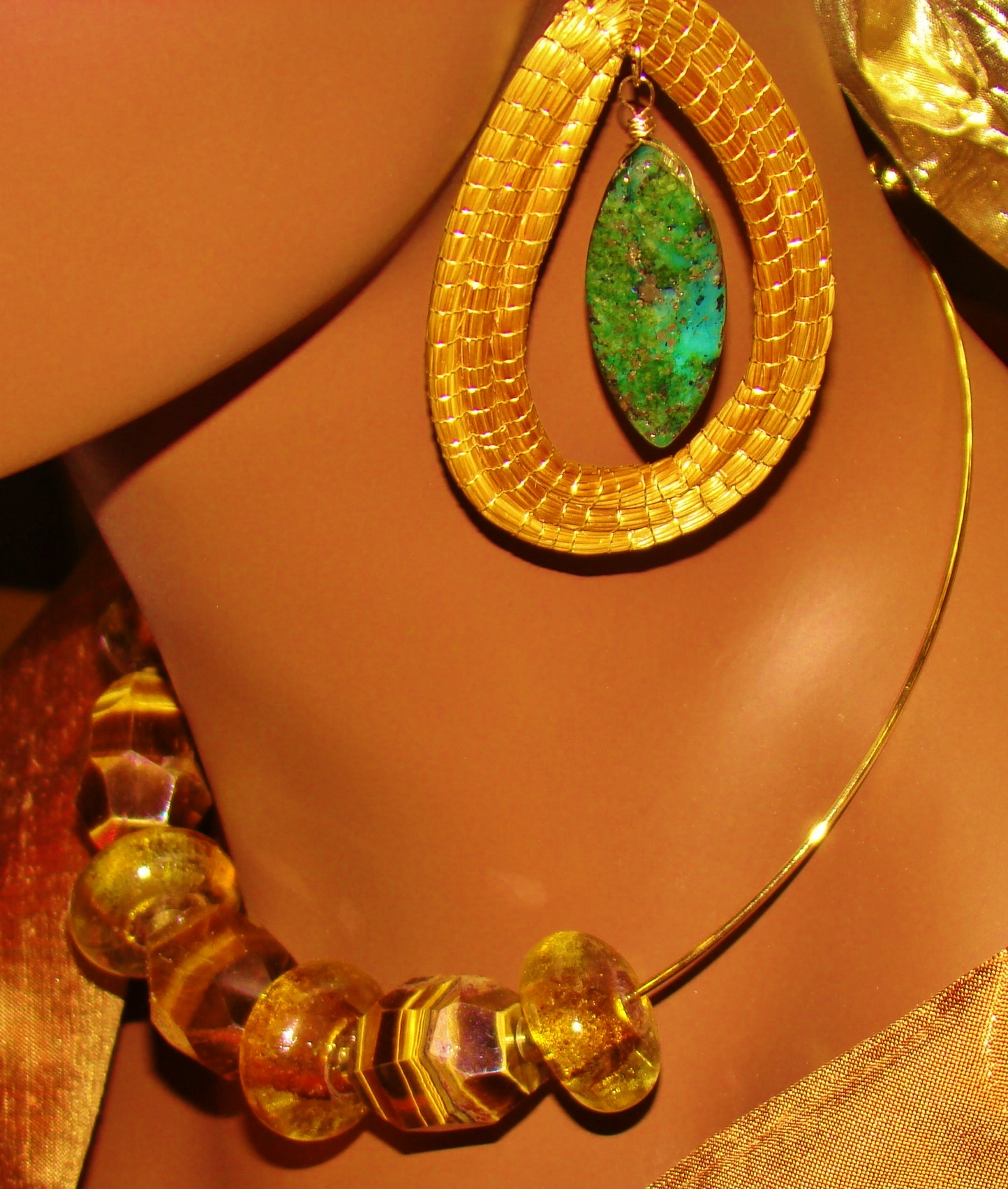 Tigereye Necklace Capim Dourado & Brass Earrings