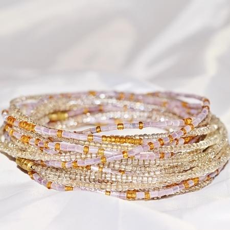 Dusky Lilac Gold Silver waist beads