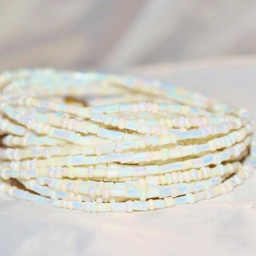 White soap bubble yoruba waist beads