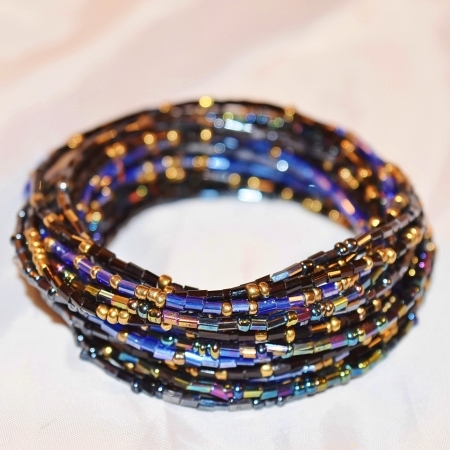 Peacock blue black and gold waist beads
