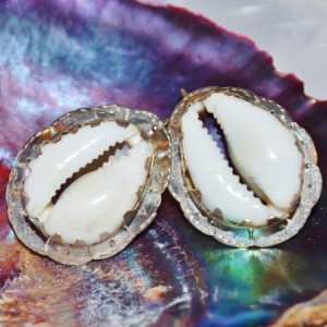 HUGE Cowrie Shell .925 Sterling Earrings Ethnic Tribal Orisa Jewelry
