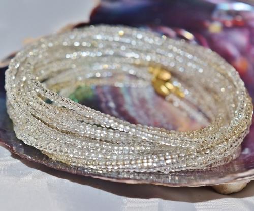 Silver glass waist beads belly beads