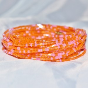 Yoruba Glass Waist Beads 4 Strands Crystal Fanta Orange & Pink Hex & Round Cut 4 Yards 1