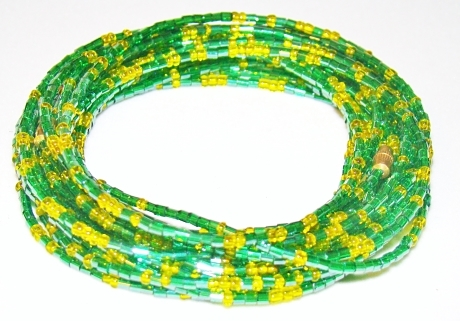 Yoruba Glass Waist Beads 4 Strands Green and Yellow Hex Cut and Round 3 Yards 26