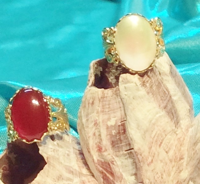 Carnelian Mother of Pearl Turquoise Rings