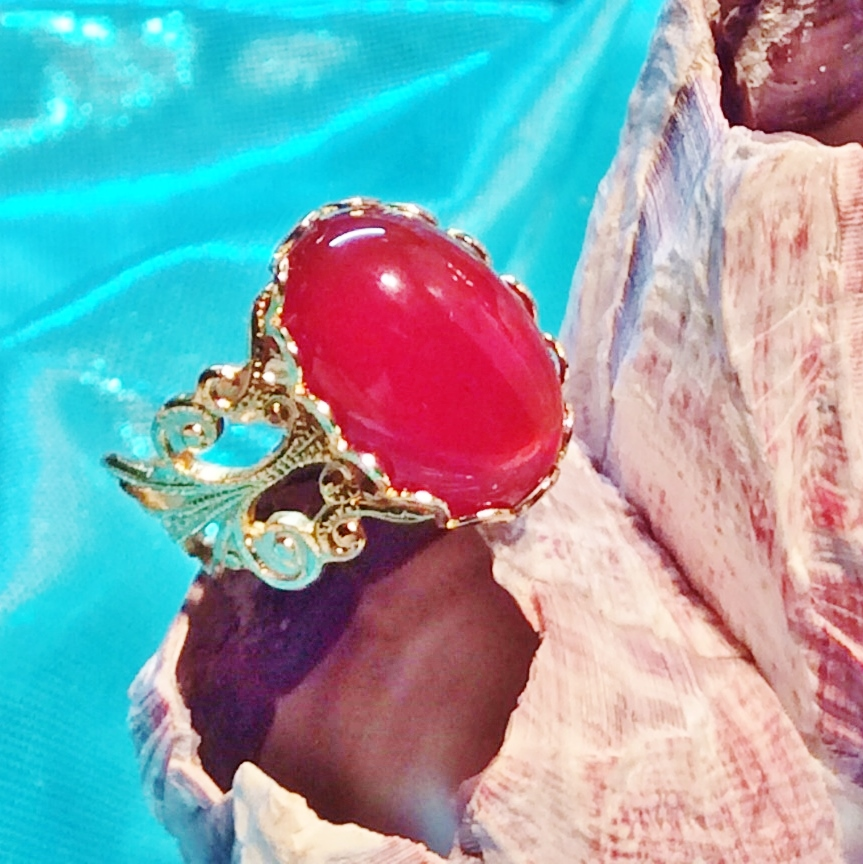 Carnelian and Gold Plate Adjustable Ring