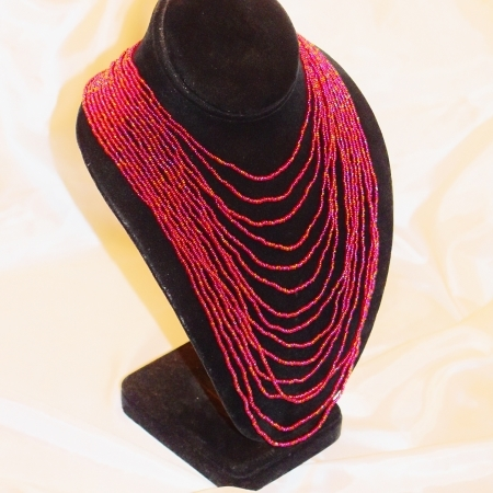 Oya Czech Glass Fire Bead Waterfall Bib Choker Necklace - FIRE!