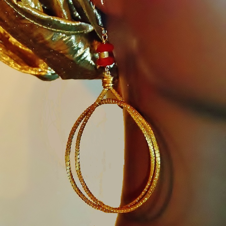 Carnelian & Capim Dourado Osun Earrings