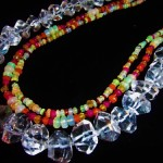 Rock Crystal Necklace with Opal Sapphires Carnelian Chalcedony