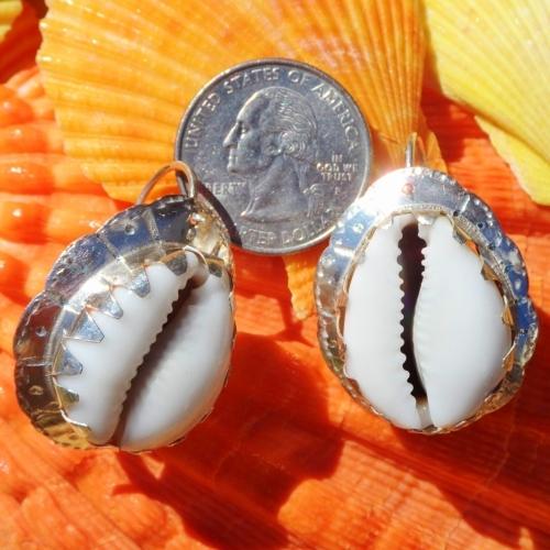 Jumbo White Cowrie Shell Earrings .925 Sterling Handmade