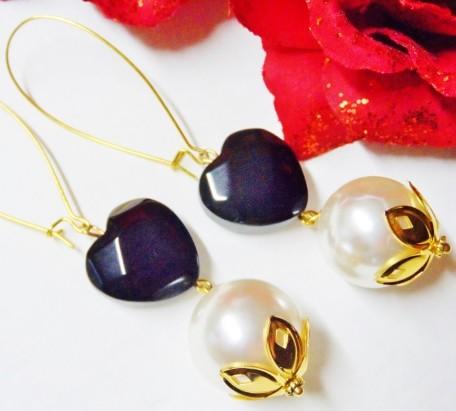Pomba Gira Macumba Earrings Hearts and Pearls Quimbanda
