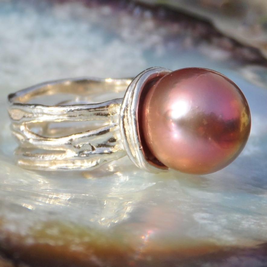 Kasumi Fireball Pearl Sterling Silver Ring