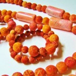 Sango Ileke with Bracelets Osun Oya Sponge Coral Red and Pink