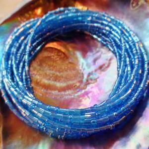 Yoruba Glass Waist Beads 4 Strands Deep Water Blue Hex & Round Cut Glass 3 Yards 25