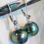 Peacock Tahitian Earrings with Green Sunstones