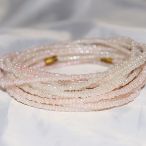 Yoruba Glass Waist Beads 4 Strands Pearl Blush Round Beads 3 Yards 6