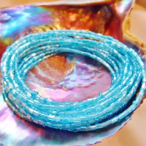 Yoruba Glass Waist Beads 4 Strands Turquoise Blue Hex & Round Cut Glass 3 Yards 24