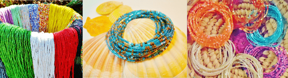 Basket of Colorful Yoruba Waist Beads