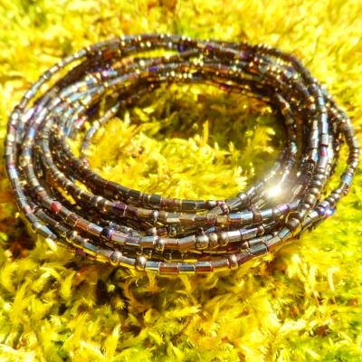 Dark Gold Metallic Peacock Waist Beads Yoruba Belly Beads