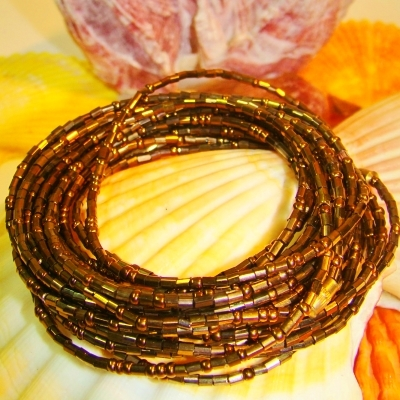 Yoruba Glass Waist Beads 4 Strands Osun Dark Gold 4 yards
