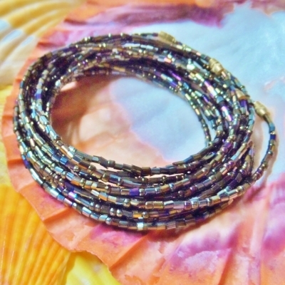 Yoruba Glass Waist Beads 4 Strands Metallic Dark Gold  3 Yards 16