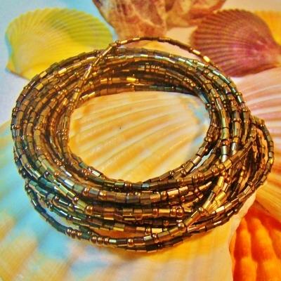 Osun Dark Gold Yoruba Waist Beads Belly Beads