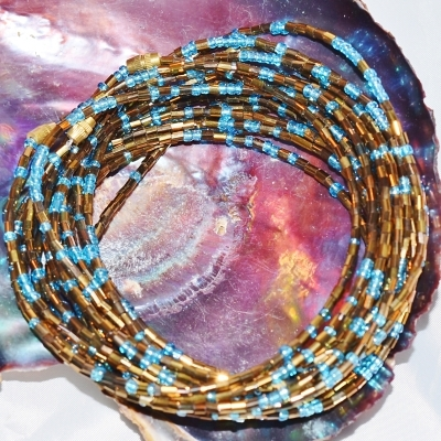 Yoruba Glass Waist Beads 4 Strands Osun Dark Gold & Turquoise  3 Yards 26