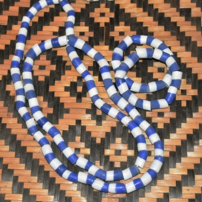 Yoruba Orisa Beads Yemoja Olokun Large Blue and White Sandcas