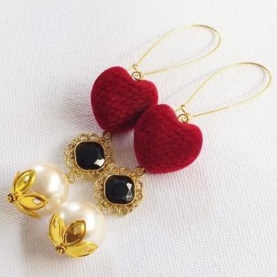 Pomba Gira Red Velvet Heart and Pearl Dangle Earrings Macumba Candomble Exu