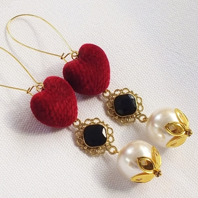 Pomba Gira Red Velvet Heart and Pearl Dangle Earrings Macumba Candomble Exu